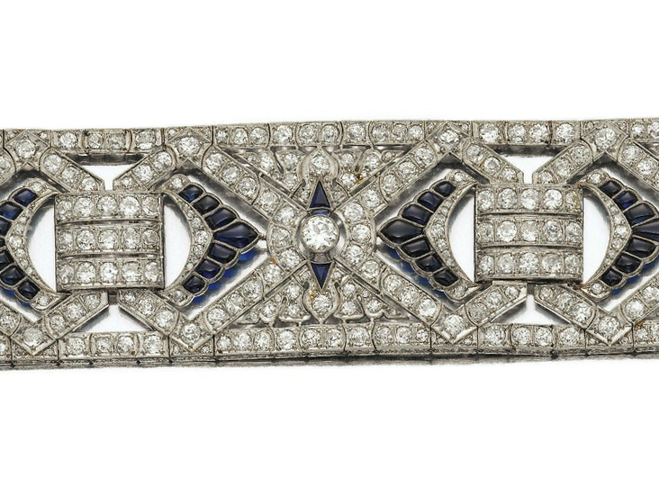 Synthetic sapphire, glass, and diamond bracelet, c. 1930. Estimate: $12,000 - $22,000 USD.