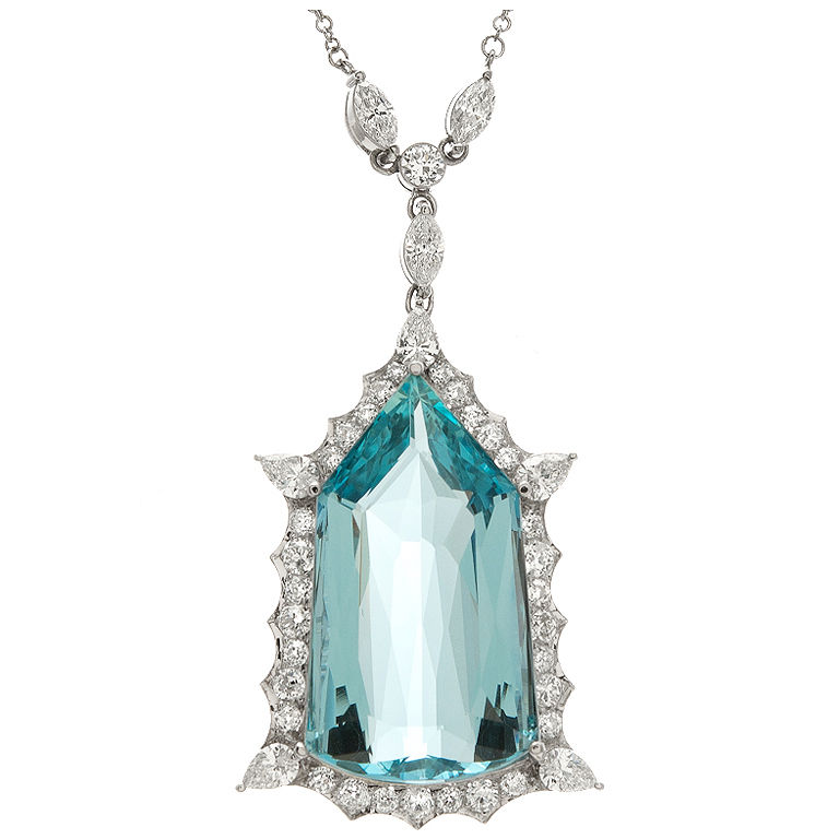 Antique aquamarine necklace via 1stdibs