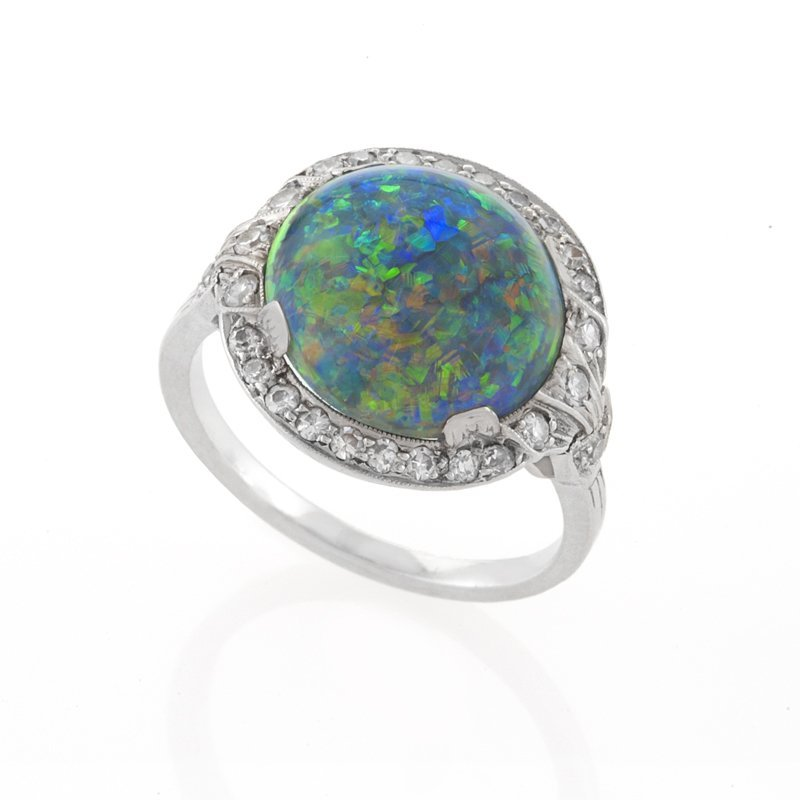 Art Deco Black Opal, Diamond and Platinum Ring by J. E. Caldwell