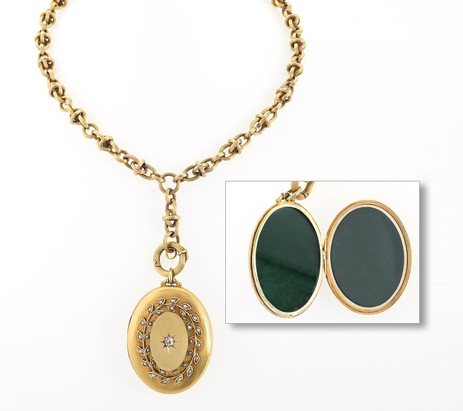 Antique Diamond, Pearl and Gold Locket Necklace