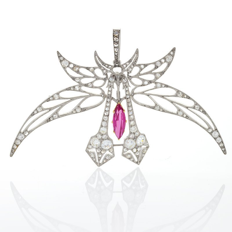 Art Nouveau Diamond, Pink Topaz and Platinum Pendant Brooch by Henri Vever