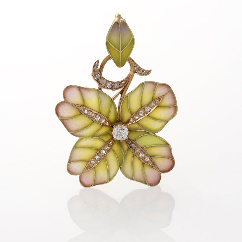 Art Nouveau Plique a Jour Enamel Flower Pendant with Diamonds