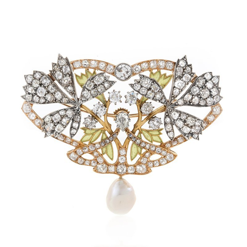 Art Nouveau Diamond, Plique-a-Jour and Natural Pearl Pendant/Brooch
