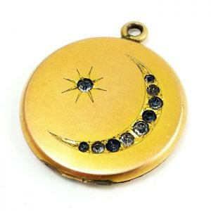 Antique Victorian Gold Filled Crescent Locket, c. 1890