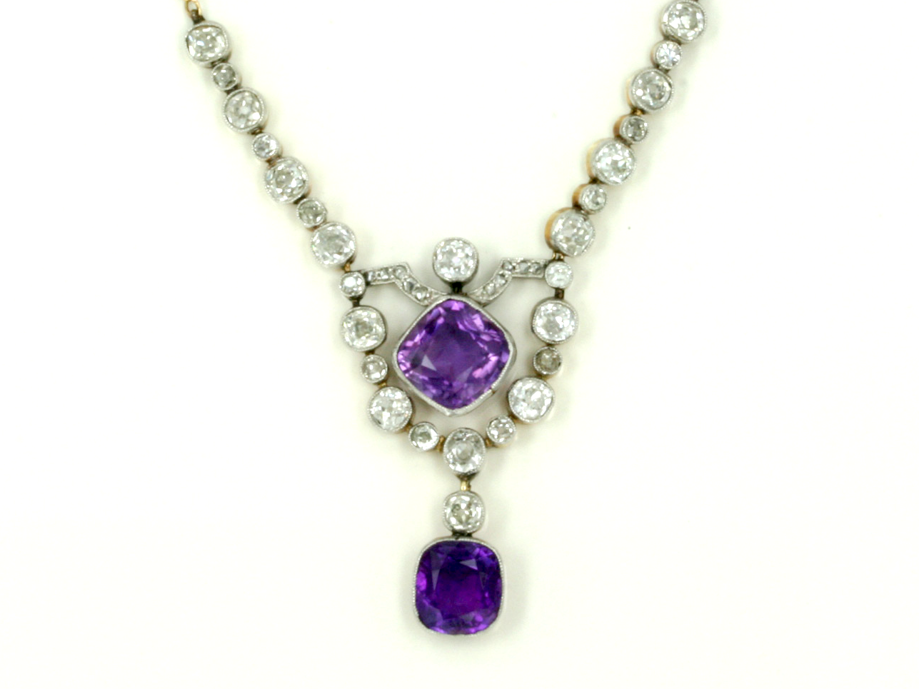 Antique amethyst and diamond drop style necklace