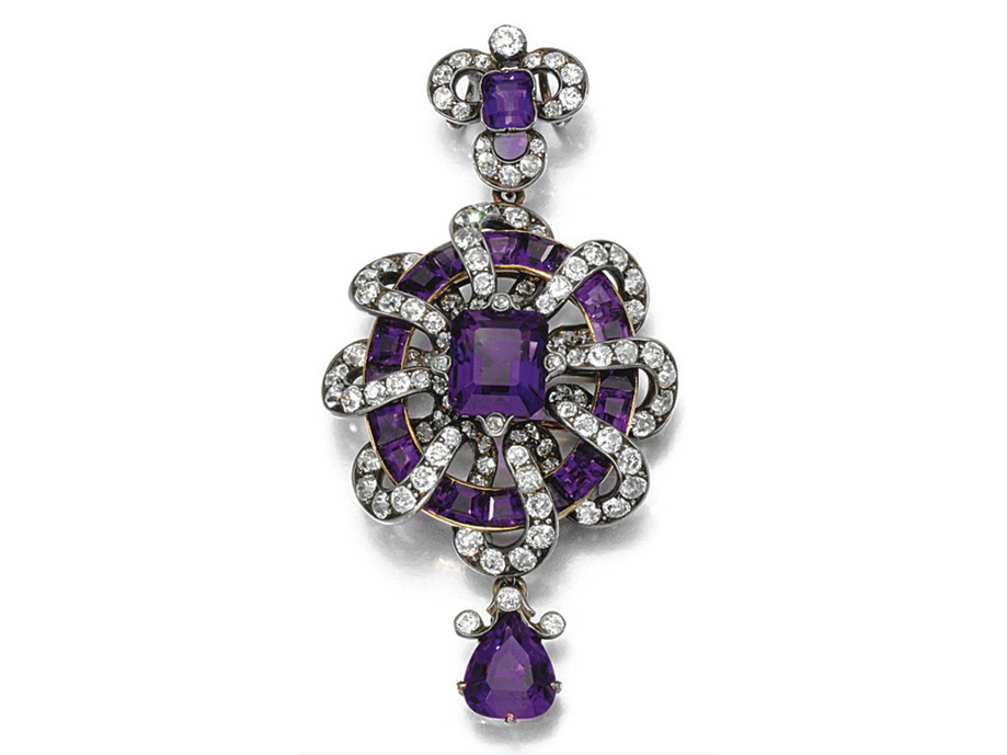 Antique Amethyst and Diamond Brooch Pendant from Sothebys, 1880