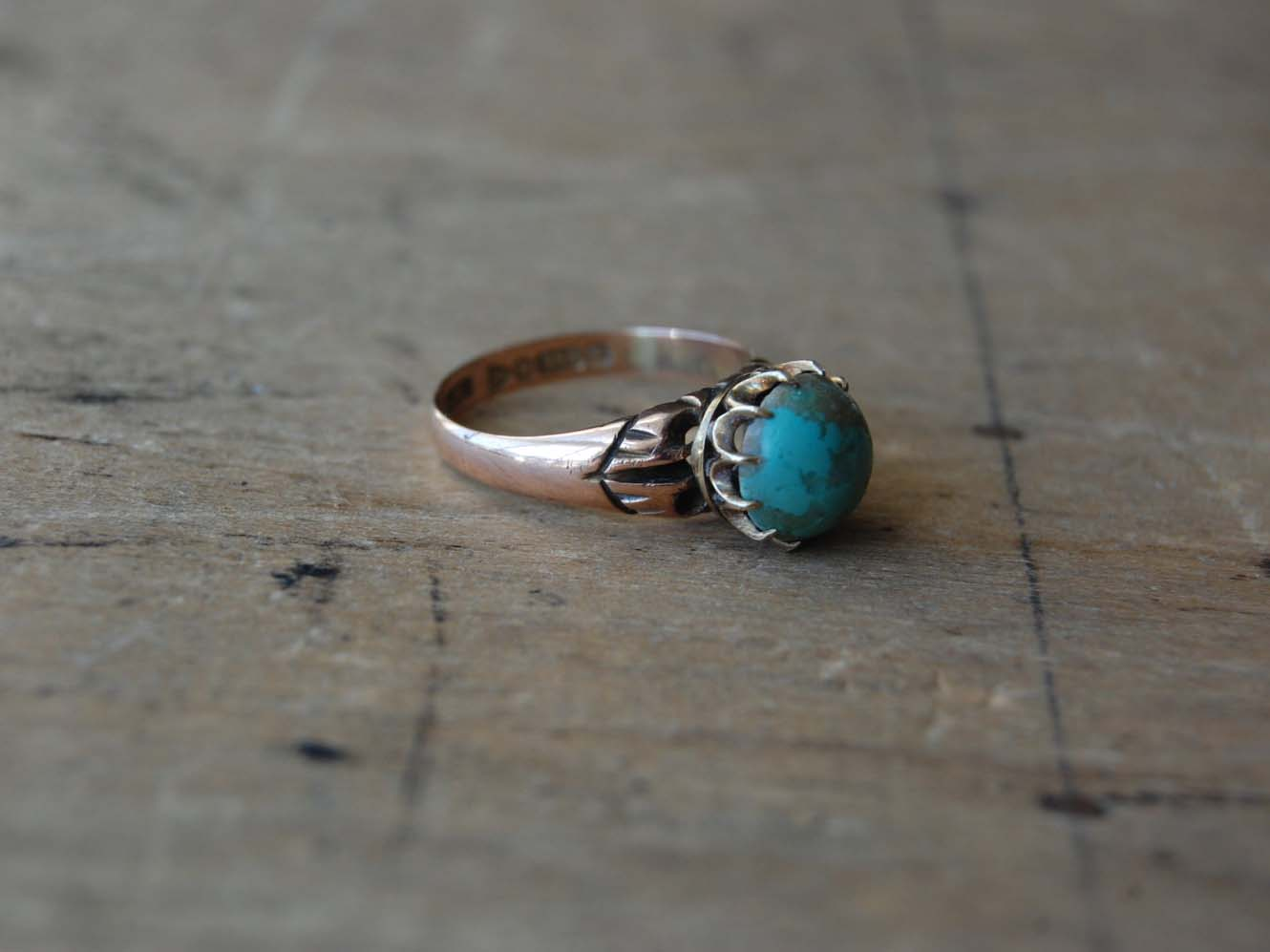 Antique Victorian turquoise matrix ring