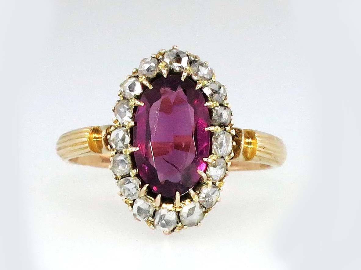 Rare English Georgian Rose Cut Diamond Halo Amethyst Ring 9k