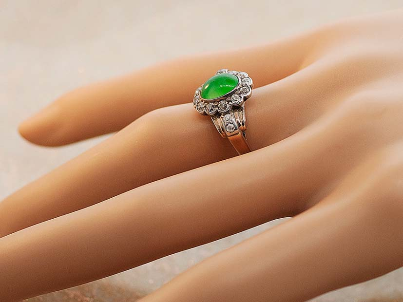 Antique Jade and Diamond Ring