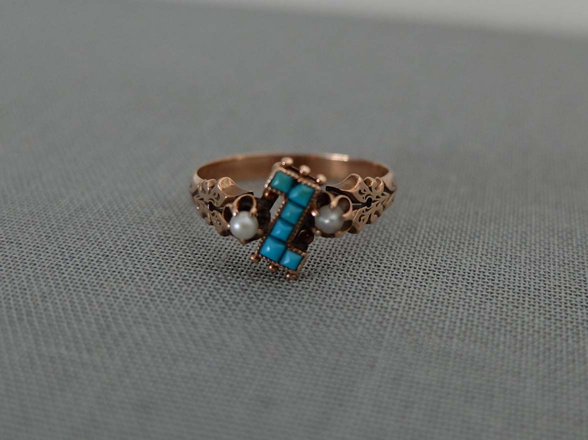 14k Victorian Turquoise and Pearl Ring