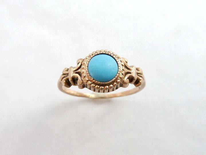 Antique Turquoise Colored Stone Gold Fleur de Lis Ring