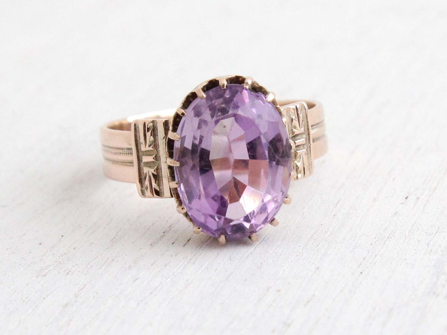 Antique Victorian 10k Rose Gold Rose de France Amethyst Ring