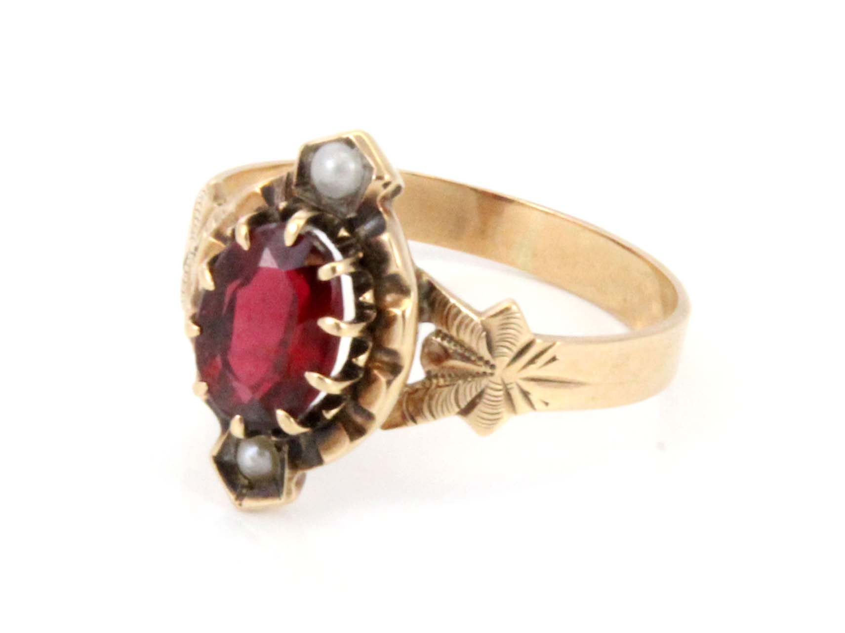 10K Antique Victorian Garnet Doublet Ruby Seed Pearl Ring