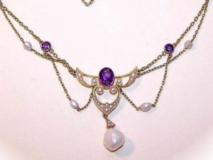 ANTIQUE EDWARDIAN 14K Gold, Amethyst & Natural Seed Pearl Festoon Necklace