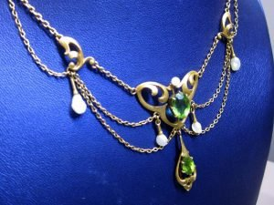 Antique Art Nouveau 14k Gold Peridot & Sea Pearl Wedding/Festoon Necklace