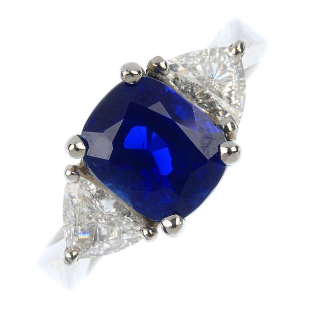 A Sri Lankan sapphire and diamond ring.