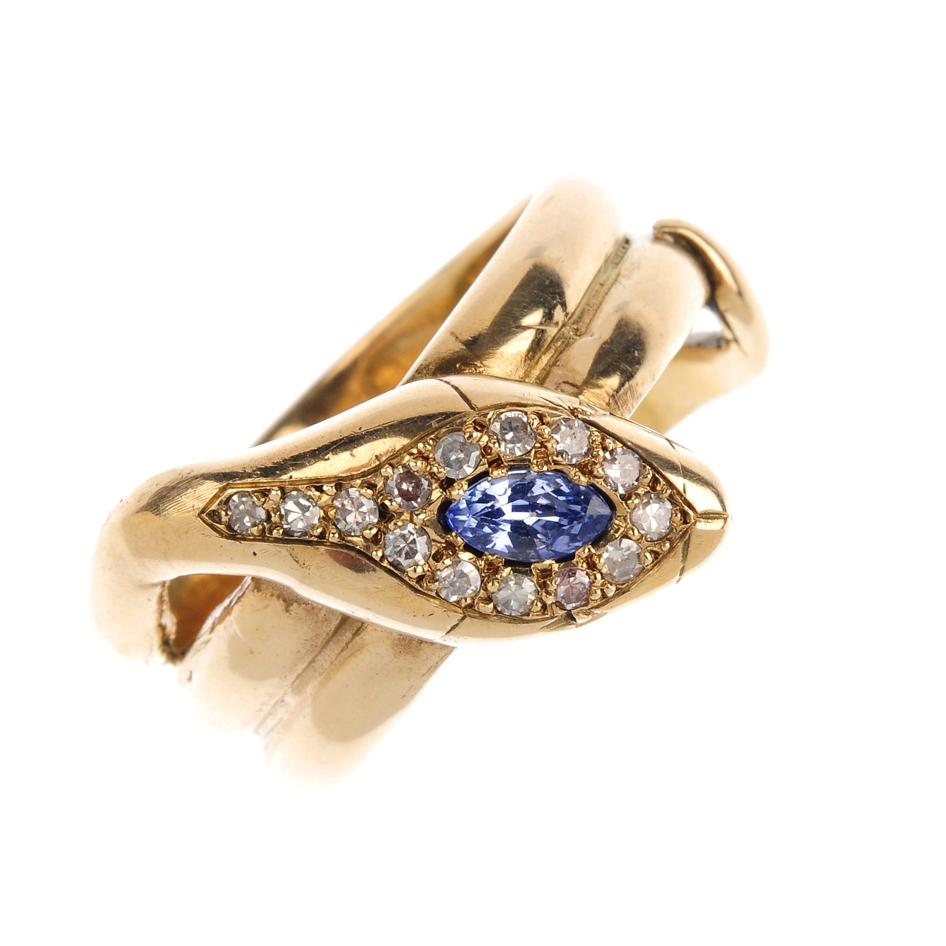 "<a href=""https://www.fellows.co.uk/2104-lot-459-An-early-20th-century-sapphire-and-diamond-snake-ring?utm_source=Ageless%20Heirlooms&utm_medium=blog&utm_campaign=Ageless%20Heirlooms%20Vintage&utm_content=Blog%20and%20social"">LOT 459</a>"