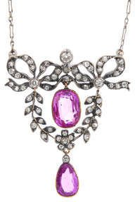 Antique lavaliere, ruby and diamond